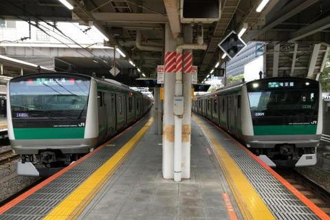埼京線の電車が並ぶという光景