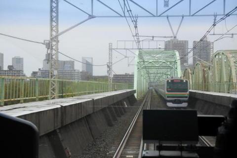 荒川の鉄橋を通過するところ