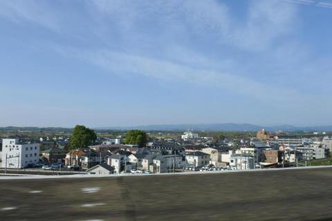 かすかに富士山が見えた